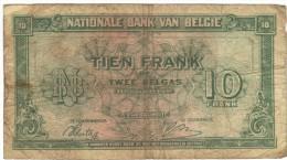 Dix Francs 2 Belga 01/02/1943 - Bélgica