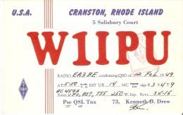QSL POSTAL DE RADIO AFICIONADO DE CRANSTON, RHODE ISLAND EN USA DEL AÑO 1949 - Tarjetas QSL