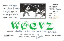 QSL POSTAL DE RADIO AFICIONADO DE FORT DODGE, IOWA  EN USA DEL AÑO 1949 - Tarjetas QSL