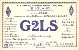 QSL POSTAL DE RADIO AFICIONADO DE F.G. SPRAGG, 86 BLENHEIM CRESCENT, LUTON, BEDS EN ENGLAND DEL AÑO 1948 - Tarjetas QSL