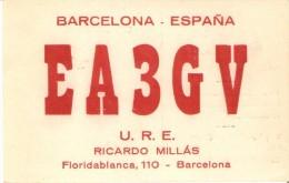QSL POSTAL DE RADIO AFICIONADO DE RICARDO MILLAS EN BARCELONA DEL AÑO 1950 - Tarjetas QSL