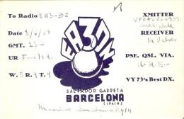 QSL POSTAL DE RADIO AFICIONADO DE SALVADOR GARRETA EN BARCELONA DEL AÑO 1950 - Tarjetas QSL
