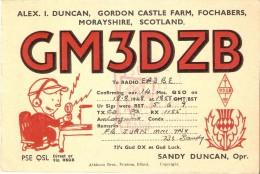 QSL POSTAL DE RADIO AFICIONADO DE ALEX DUNCAN, GORDON CASTLE FARM, FOCHABERS, MORAYSHIRE, SCOTLAND DEL AÑO 1948 - Tarjetas QSL