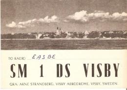 QSL POSTAL DE RADIO AFICIONADO DE ARNE STRANDBERG, VISBY AERODROME, SWEDEN DEL AÑO 1949 (SUECIA) - Tarjetas QSL