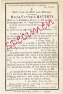 Doodsprentje BEGIJNTJE MATTHYS Maria-Theresia - ° MASSEMEN/WESTREM En Overleden 27/12/1896 - Images Religieuses