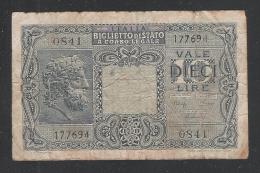 ITALIA - LUOGOTENENZA - 1944 - BIGLIETTO DI STATO DA LIRE 10 - CIRCOLATO - IN BUONE CONDIZIONI. - [ 1] …-1946 : Kingdom
