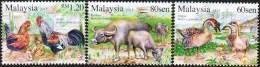 2015 Goat Year Zodiac Chicken Rooster Hen Goose Bird Cow Buffalo Stamp Malaysia MNH - Malaysia (1964-...)