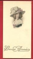 DJA-02  Jeune Femme à Large Chapeau. Carte De Bonne Année Sur 4 Volets. Mention 1922 - Vieux Papiers
