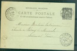 """Yvert N° 89 CP4 Oblitéré CAD Type 84 Digoin - Saone Et Loire + CACHET DE FACTEUR  D/2 """" Le Péage """" EN 1897 BB13806 - Marcofilie (Brieven)"""