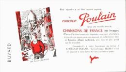 -BUVARD -   CHOCOLAT POULAIN Chansons De France - Un Gamin De Paris    état LUXE - Chocolat