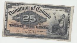 Canada 25 Cent 1900 VF Pick 9a 9 A (Signature Courtney) - Canada