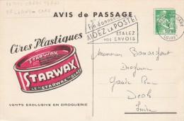 AVIS DE PASSAGE AGENT DROGUERIE BRUNEL HELLEMMES LILLE CIRES PLASTIQUES STARWAX 1962  TDA38 - Profumeria & Drogheria