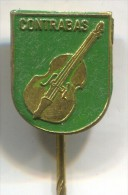 CONTRABAS KONTRABASS  Double Bass - Musical Instruments Music ,  Vintage Pin Badge - Musik
