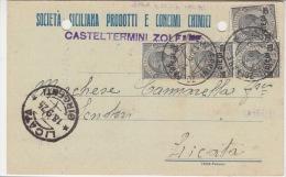 """Card Cartolina .Affr.Cm.10 Su 15 Leoni""""Casteltermini Zolfare- Viaggiata Sicily   Italy Italia - Storia Postale"""