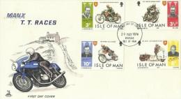Isle Of Man 1974 T.T. Races FDC - Motorbikes