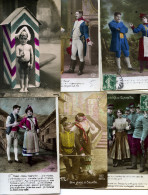 7070 - 30 Cpa Fantaisies Militaires Belle époque, Soldat Et Sa Belle, Enfants, Ruban Tricolore, Fille Du Régiment... - Postcards