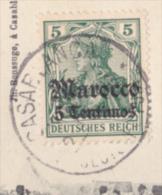 "Timbre Allemand Avec Surcharge ""Marocco, 5 Centimos"" Affranchi 1909 Sur CP Campagne Du Maroc (1907-1908) - Deutsche Post In Marokko"