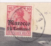 "Timbre Allemand Avec Surcharge ""Marocco, 10 Centimos"" Affranchi 1909 Sur CP Campagne Du Maroc (1907-1908) - Deutsche Post In Marokko"