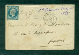 N°22 Oblitéré GC 2446 Montebourg (48) 23 Fév 1866 Pour Le Marquis De Vaulserre à Paris, Réexpédiée Au Pont De Beauvoisin - 1849-1876: Klassieke Periode
