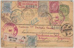 24627 HANKOW Chine bureau anglais - EP Recommand� Marchienne-Au-Pont 1902 retour via SHANGHAI. Hong Kong mixed franking
