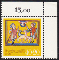 !a! BERLIN 1980 Mi. 633 MNH SINGLE From Upper Right Corner -Christmas - Neufs