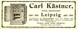 Original-Werbung/ Anzeige 1906 - PANZERSCHRÄNKE / TRESORE/ SAFE-ANLAGEN / KÄSTNER LEIPZIG - Ca. 115 X 45 Mm - Publicités