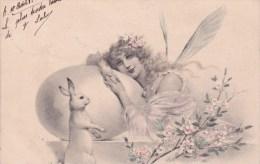 CPA PÂQUES ,(Femme Et Gros Oeuf Et Lapin.)  ( SBW) 1903. - Ostern