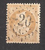 Empire N° 21, 10 C Bistre Obl GC 20 De AIGUEBELLE , Savoie  , Belle Frappe , TB - 1862 Napoleon III