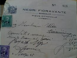 FATTURA MANISCALCO NEGRI  PIEVE OTTOVILLE PARMA  MARCHE DA BOLLO 1942 ER13986 - Italia