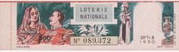 Loterie Nationale 1950 - 20 ème T. B  - Entier De 860 Fr - Lakmé - Lotterielose