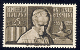 Antonio Rosmini - 1955 - 25 Lire Bruno (Sassone 781) MNH** - 1946-60: Nuovi