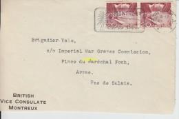 Dessus D Enveloppe Timbrée   De British Vice Consulate Montreux  Pour Imperial War Graves Commission   Arras - Non Classificati