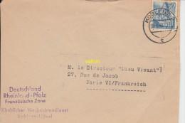 Timbre Sur Dessus D Enveloppe  Koblenz   Franzosische Zone    Pour Paris - Germania
