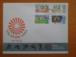 KUT 1972 MUNICH OLYMPICS Issue FULL SET FOUR STAMPS To 2/50 On OFFICIAL ILLUSTRATED FDC. - Kenya, Uganda & Tanganyika