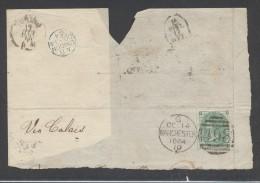 8654-GRANDE FRAMMENTO DI LETTERA AFFRANCATA ONE SHILLING - 1840-1901 (Regina Victoria)
