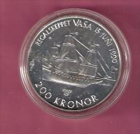 ZWEDEN 200 KRONER 1990 SILVER FDC WARSHIP WASA KM875 - Suède
