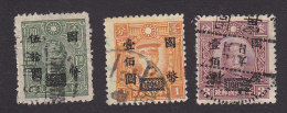 China, Scott #671-673, Used, Dr. Sun Yat Sen Surcharged, Issued 1946-47 - China