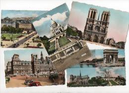75 - PARIS . SACRÉ-COEUR, HÔTEL DE VILLE, NOTRE-DAME, MULTI-VUES . LOT DE 5 CARTES POSTALES - Réf. N°8230 - - Non Classés