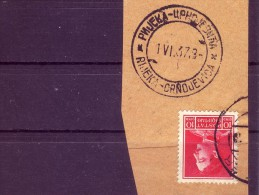 KING ZOGU I-10 Q-POSTMARK-RIJEKA CRNOJEVICA-RARE-MONTENEGRO-ALBANIA-1930 - Albania