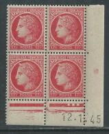 France N° 676 XX Cérès Mazelin1 F. Rose-rouge En Bloc De 4 Coin Daté Du 12 . 1. 45 , 3 Points Blancs Ss Char., TB - 1940-1949