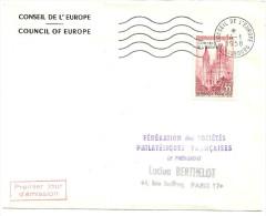 LPU7 - FRANCE - CONSEIL DE L'EUROPE 35f SUR LETTRE AVEC FLAMME DU 14/1/1958 - Lettres & Documents