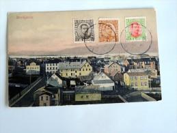 carte postale ancienne : ISLAND: REYKJAVIK , 3 stamps