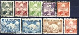 #G1341. Greenland 1938-46. Michel 1-7 + 26-27. Used(o) - Usati