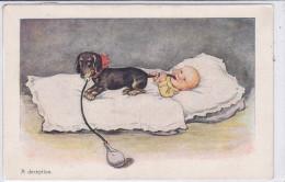 CARD CANE BASSOTTO - BASSET SAUS-SAGE DOG  SUCCHIA LATTE DAL BIBERON BIMBO SUCCHIA CODA CANE INGANNO FP-V-2 -0882 22850 - Chiens