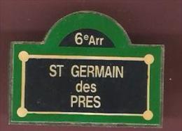 41882-Pin's.Saint Germain Des Pres.Paris.plaque De Rue.. - Villes