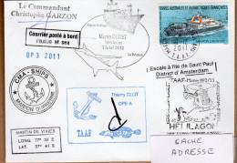 TAA F PLI  ST PAUL ET AMSTERDAM TP 520 Obl. 19 12 2011. CACHETS DIVERS  Signé. Voir Photo Et Verso. - Terres Australes Et Antarctiques Françaises (TAAF)