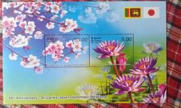 Sri Lanka 2012  -Japan 60 Years Relations Flowers Flags MS Mint - Sri Lanka (Ceylon) (1948-...)