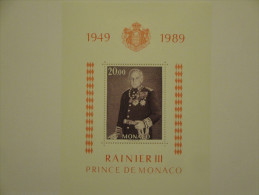 Monaco 1989 Yvert BF45 ** - Prince Rainier III -- Michel B43  --   à Saisir à 63% De La Faciale ! - Blocs