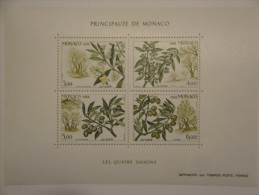 Monaco  1988  Yvert B43 **  -- Les 4 Saisons De L'olivier -- Michel B41 - Blocs