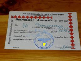 Ausweis Paris Wehrmacht 1941 Rot  / Pièce D'identité Allemand Guerre Paris Rouge - 1939-45